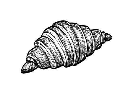 Ink sketch of croissant.