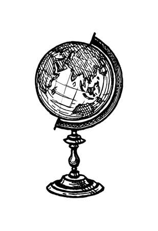 Croquis à l'encre du globe Vecteurs