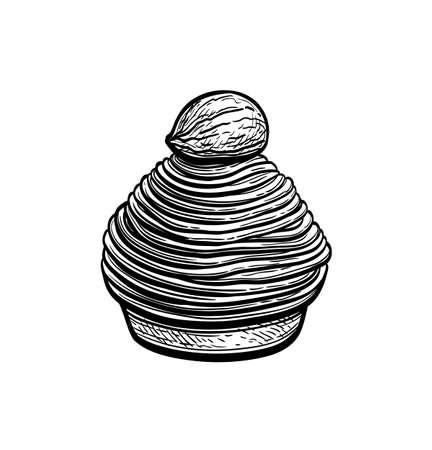 Ink sketch of Mont Blanc dessert. Ilustração