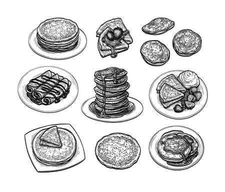 ink sketch set of crepes
