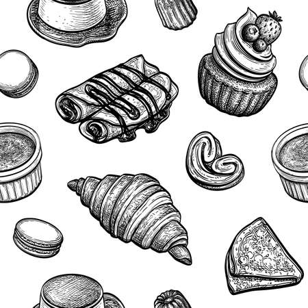 Seamless pattern with French desserts  イラスト・ベクター素材