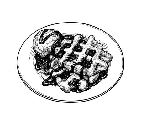 Ink sketch of waffles  イラスト・ベクター素材