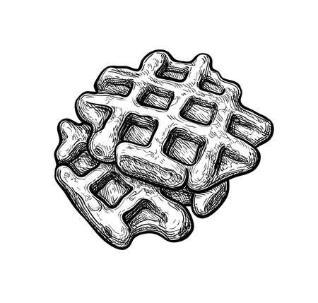 Ink sketch of waffle. 向量圖像