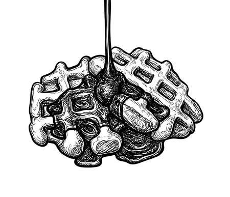 Ink sketch of waffle. Ilustração