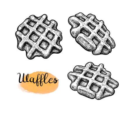 Ink sketch of waffles.