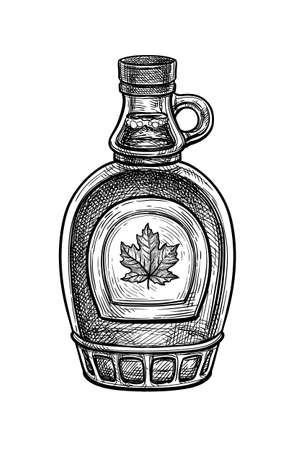 Ink sketch of maple syrup bottle. Standard-Bild - 134348676
