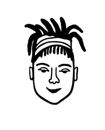 Doodle sketch of girl with dreadlocks.