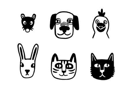 Funny animal portraits Illustration