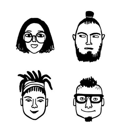 Hipster style portraits set.