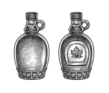 Ink sketch of maple syrup bottles.