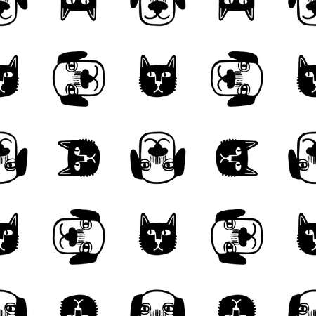 Seamless pattern with cute animals. 矢量图像