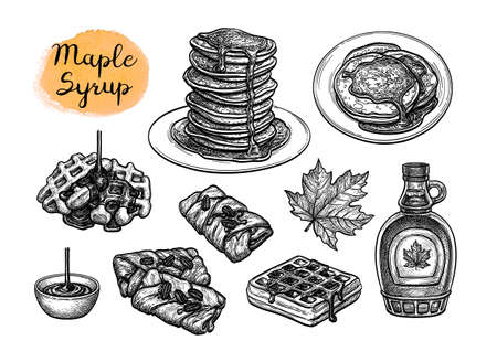 Ink sketches of desserts with maple syrup. Illustration