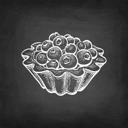 Fruit tart with fresh blueberries. Chalk sketch on blackboard background. Hand drawn vector illustration. Retro style.