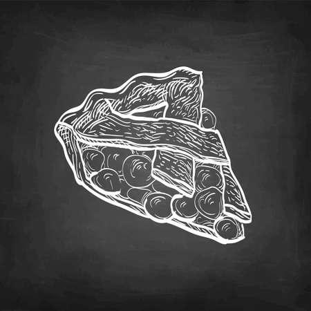 Cherry pie. Chalk sketch on blackboard background. Hand drawn vector illustration. Retro style.