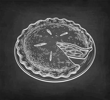 Chalk sketch of apple pie. Ilustração