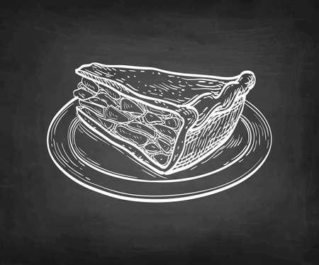 Chalk sketch of apple pie. 向量圖像
