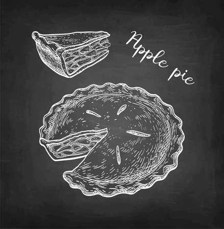Chalk sketch of apple pie. Иллюстрация