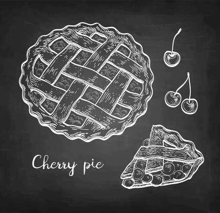 Chalk sketch of cherry pie.