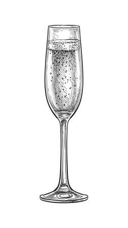 Glass of champagne. Ink sketch isolated on white background. Hand drawn vector illustration. Retro style.