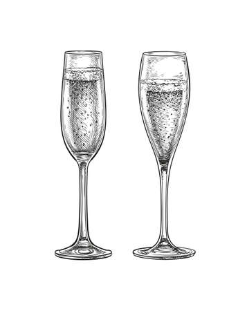 Two glasses of champagne various shapes. Ink sketch isolated on white background. Hand drawn vector illustration. Retro style.