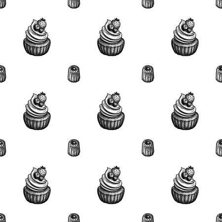 Seamless pattern with canele and rum baba.