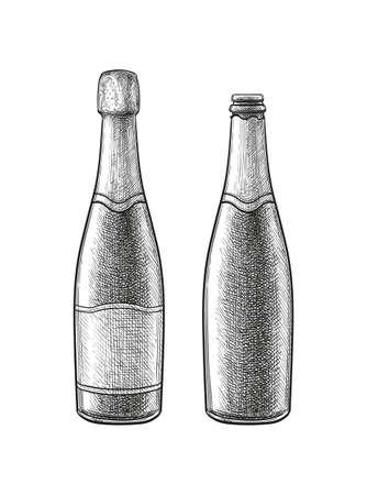 Ink sketch of champagne bottle.