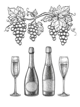 Champagne ink sketch set.  イラスト・ベクター素材