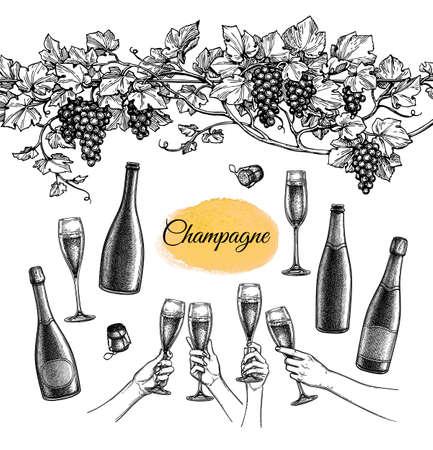 Champagne big set.  イラスト・ベクター素材