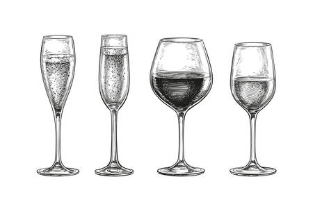 Glasses with champagne and wine.