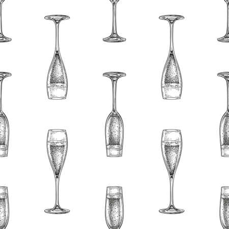 Seamless pattern with glass of champagne. Ilustracja