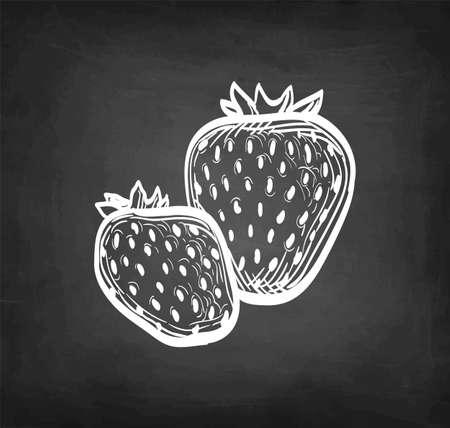 Chalk sketch of strawberries.