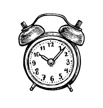 Twin bell alarm clock. Ink sketch isolated on white background. Hand drawn vector illustration. Retro style.  イラスト・ベクター素材