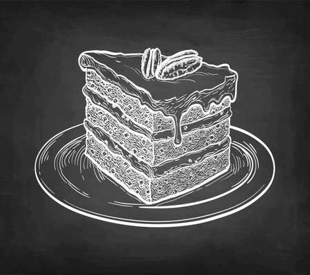 Chalk sketch of carrot cake. Banque d'images - 139295554