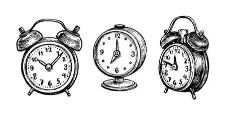 Vintage alarm clock. Vector Illustration