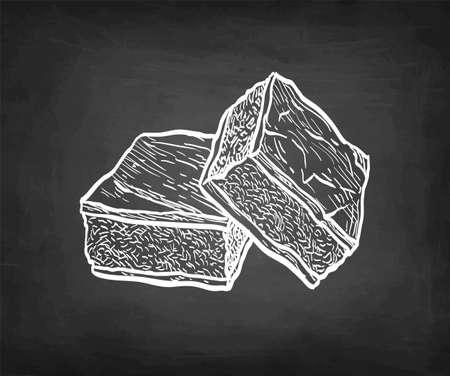 Chocolate brownie. Chalk sketch on blackboard background. Hand drawn vector illustration. Retro style.