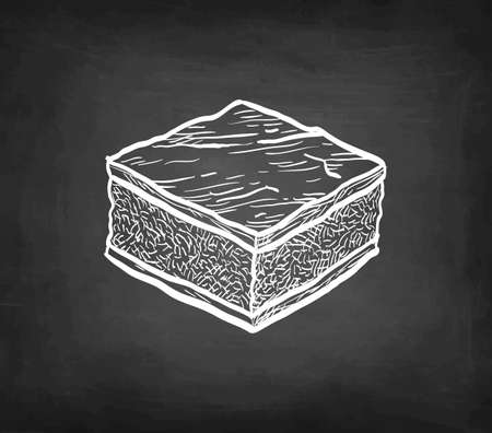 Chalk sketch of chocolate brownie.