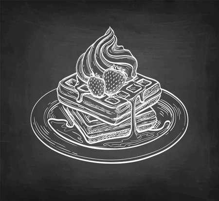 Chalk sketch of waffles.