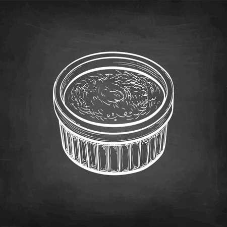 Chalk sketch of creme brulee.