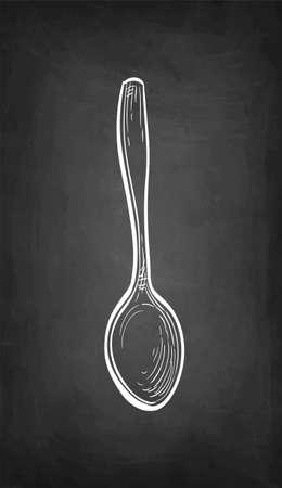 Chalk sketch of spoon. Vettoriali