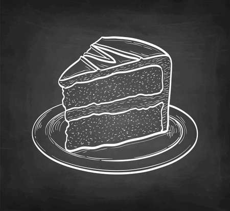 Chalk sketch of chocolate cake.