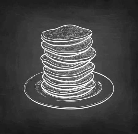 Chalk sketch of pancakes.