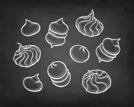 Meringue cookies. Chalk sketch on blackboard background. Hand drawn vector illustration. Retro style.