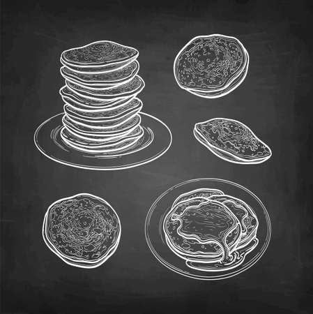 Chalk sketch set of pancakes.