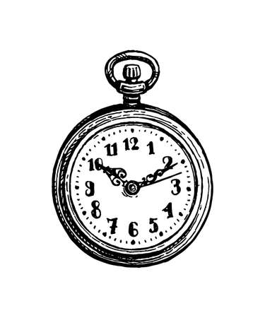 Ink sketch of pocket watch.