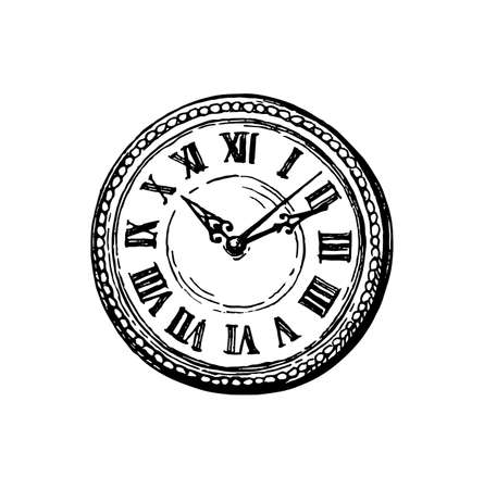 Clock face. Ink sketch isolated on white background. Hand drawn vector illustration. Retro style.