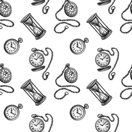 Seamless pattern with clock and hourglass.