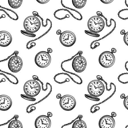 Seamless pattern with pocket watch. Vectores