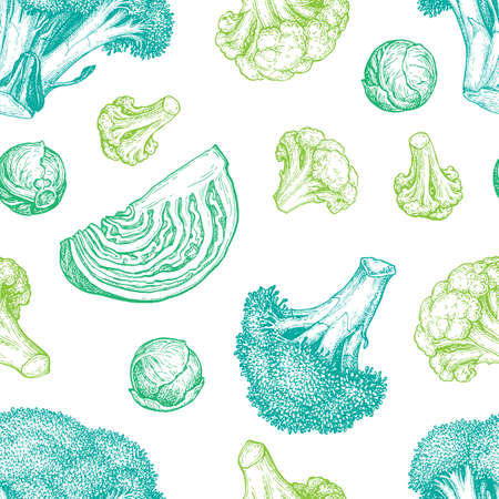 Seamless pattern with cabbage. Vectores