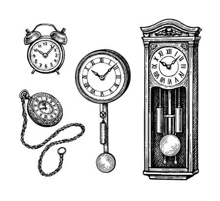Ink sketch set of vintage clocks