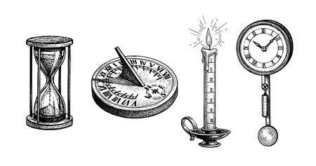 Different types of antique clocks. Vectores